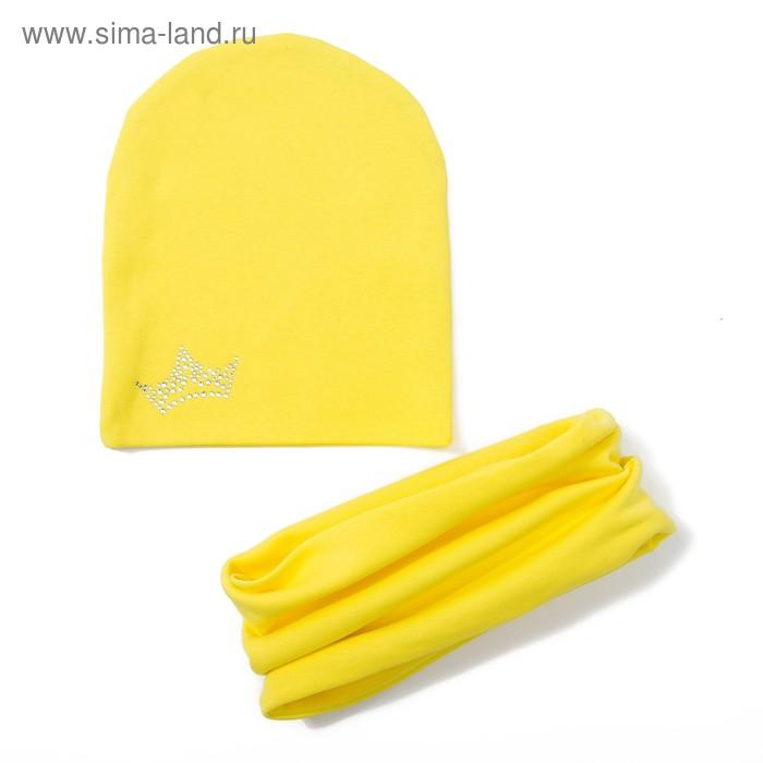 "Комплект детский шапка+снуд ""Бинни"", размер 40-45 см, цвет жёлтый КД-53/02"