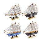 Корабль сувенирный малый «Трёхмачтовый», борта с полосой, паруса белые, микс, 14 × 3,5 × 13 см