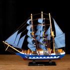 Корабль сувенирный средний «Всадник», паруса синие, микс, 43х8,5х39 см - фото 5749962