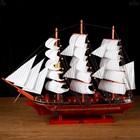 Корабль сувенирный большой «Трёхмачтовый», борта красное дерево, паруса белые, 82 × 13 × 62 см