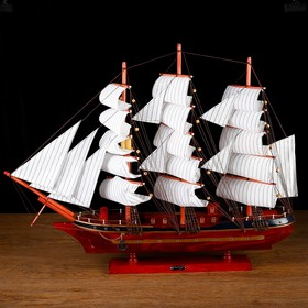 Корабль сувенирный большой «Гайрет», борта красное дерево, паруса белые, 82×13×62 см