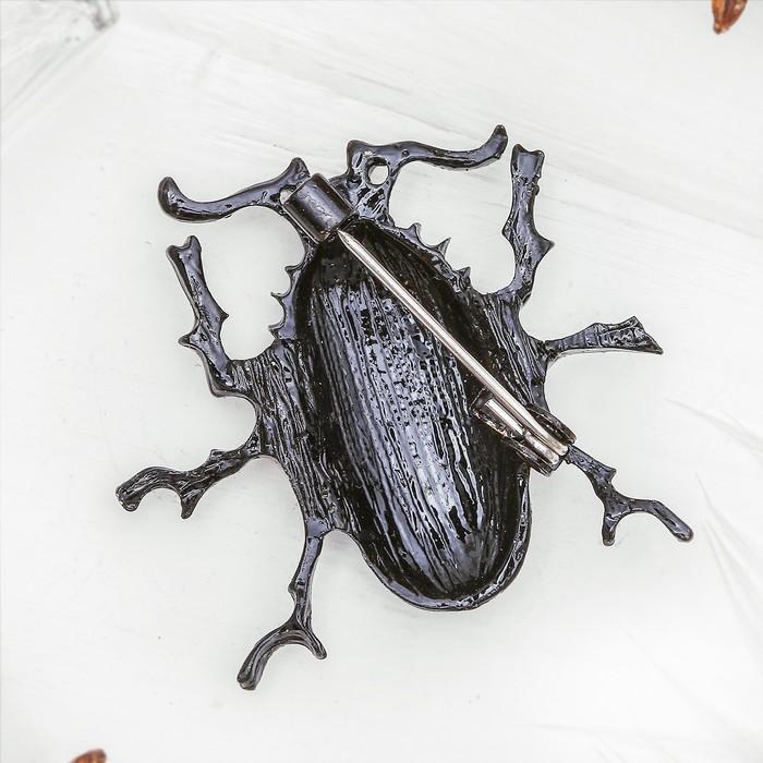 """Брошь """"Жук майский"""", цвет чёрно-морской в чёрном металле - фото 444877887"""