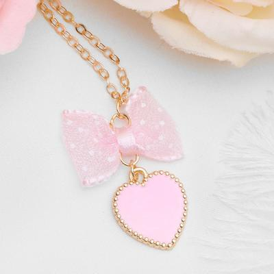 """Pendant """"Vibracula"""" heart with bow, pink gold"""