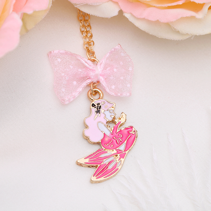 """Кулон """"Выбражулька"""" русалочка, розовый в золоте"""