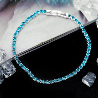 "Bracelet with rhinestone ""Ice"" elegance, 1 row, colour iridescent blue in silver"