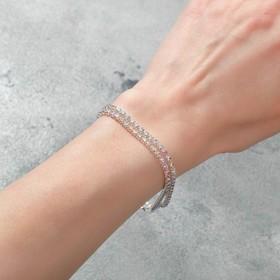 """Браслет со стразами """"Лёд"""" элегантность, 2 ряда, цвет радужный в серебре, 18см"""