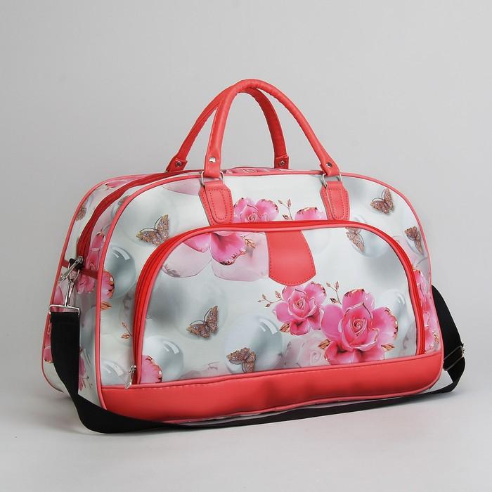 Сумка дорожная, отдел на молнии, наружный карман, длинный ремень, цвет бежевый/розовый