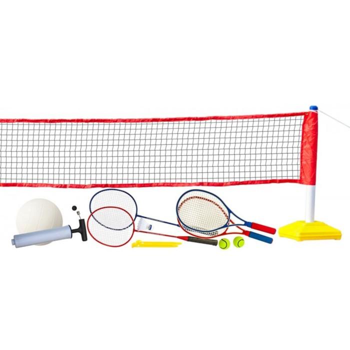"""Набор для волейбола, тенниса, бадминтона с сеткой """"Prazer 3 в 1"""" (полный набор аксессуаров)   287439"""