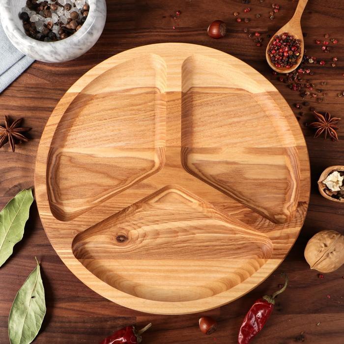 """Тарелка для закусок """"Тройка"""", d-25 см, массив ясеня - фото 308065491"""