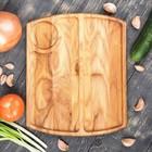 "Тарелка для подачи стейка и овощей ""Рибай"", массив ясеня 30 х 25 см"