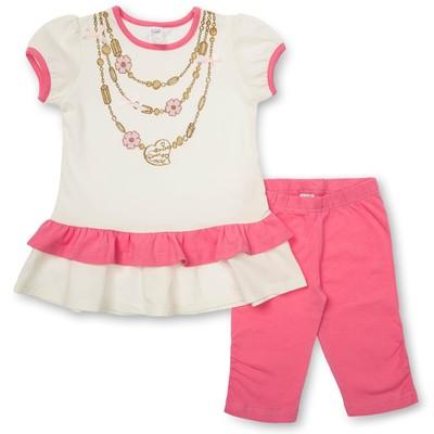 Комплект для девочки туника+брижди, рост 116 см, цвет молочный/розовый П-02/2-1
