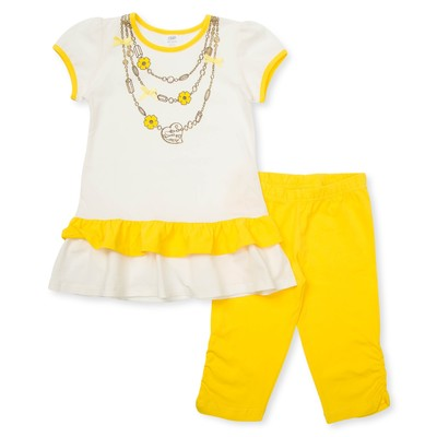 Комплект для девочки туника+брижди, рост 98 см, цвет молочный/желтый П-02/2-4