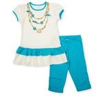 Комплект для девочки туника+брижди, рост 104 см, цвет молочный/бирюзовый П-02/2-5