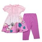 Комплект для девочки туника+брижди, рост 92 см, цвет св.розовый/розовый П-13/1_М