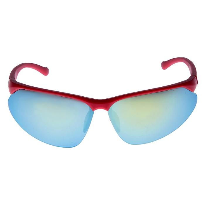 Очки спортивные антифары, оправа красная, линзы зеркальные, 14х4х5 см