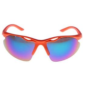 Очки спортивные, оправа с прорезью, линзы зеркальные, пластик, оранжевые, 14х4х5 см