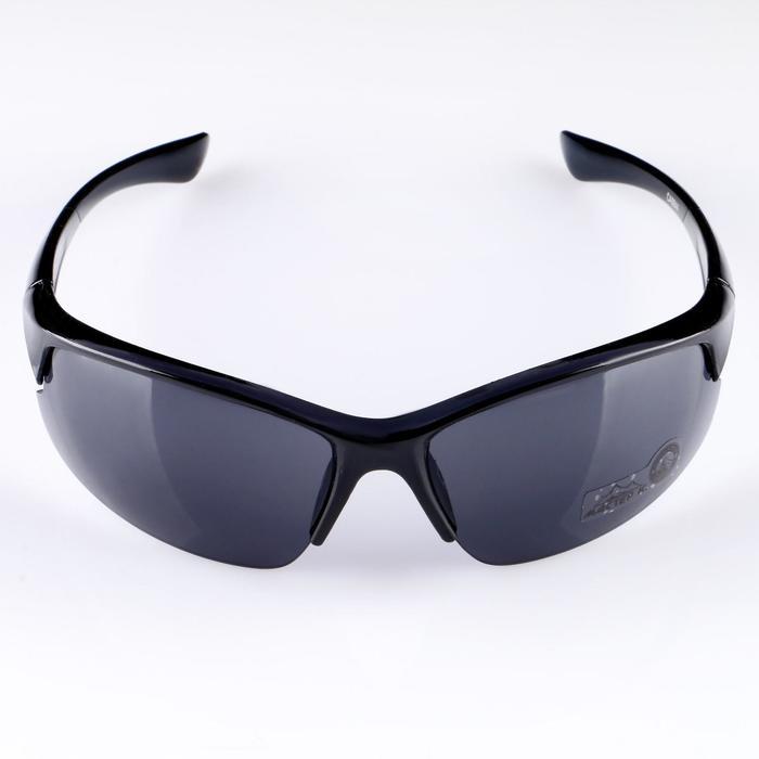 Очки спортивные, линзы с заострёнными уголками, оправа и дужки чёрные, 4х14х5 см