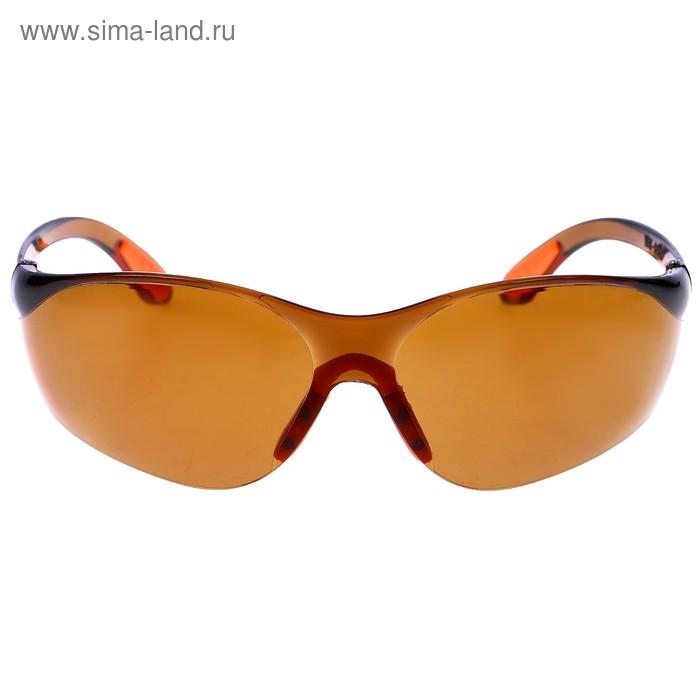 Очки спортивные антифары, дужки с оранжевыми вставками, оправа и линзы коричневые, 14х4х5 см