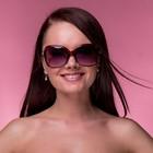 Очки солнцезащитные Оверсайз. Дужки вставки розочки со стразами, линзы микс, 4х14х5 см
