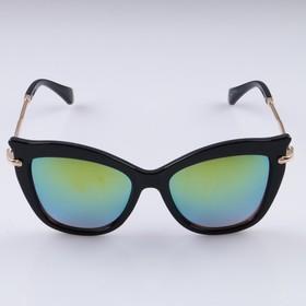 Очки солнцезащитные Бабочка,дужки вставка тонкая металл,оправа чёрная, линзы зеленые,14х5 см