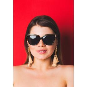 Очки солнцезащитные Square. Оправа с длинными золотистыми вставками, линзы микс, 4х14х5 см