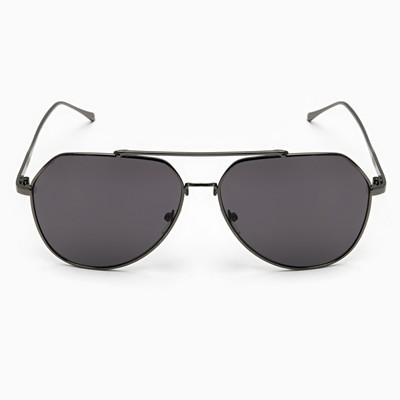 Очки солнцезащитные Авиаторы. Оправа металл чёрная, дужки тонкие, линзы черные, 4х14х5 см