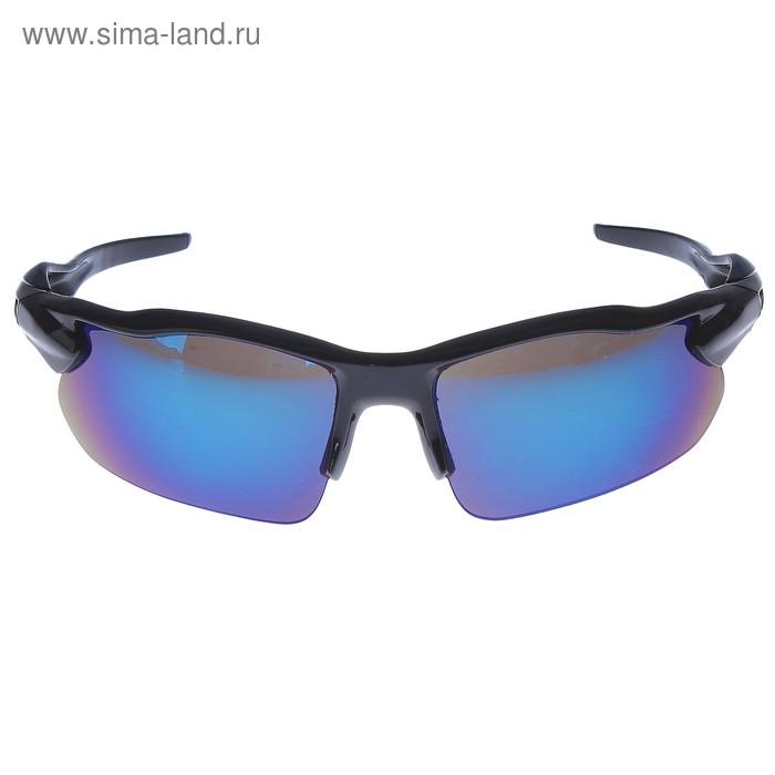 Очки спортивные, линзы под углом, синие, дужки чёрно-синие с объёмными вставками, 16х6 см