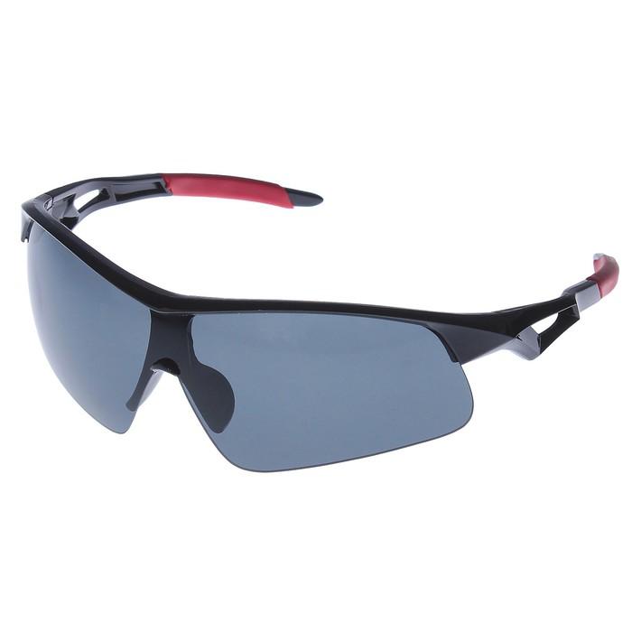 Очки спортивные, линзы под углом чёрные, дужки чёрно-красные с прорезью, 16х6 см  микс
