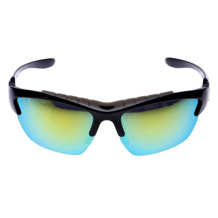 Очки спортивные, линзы зеркальные, оправа прорезиненная сверху, чёрные, 14х5.5 см