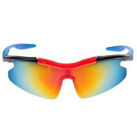 Очки спортивные, линзы под углом, зеркальные, оправа чёрно-красная, дужки синие, 14х5.5 см Ош