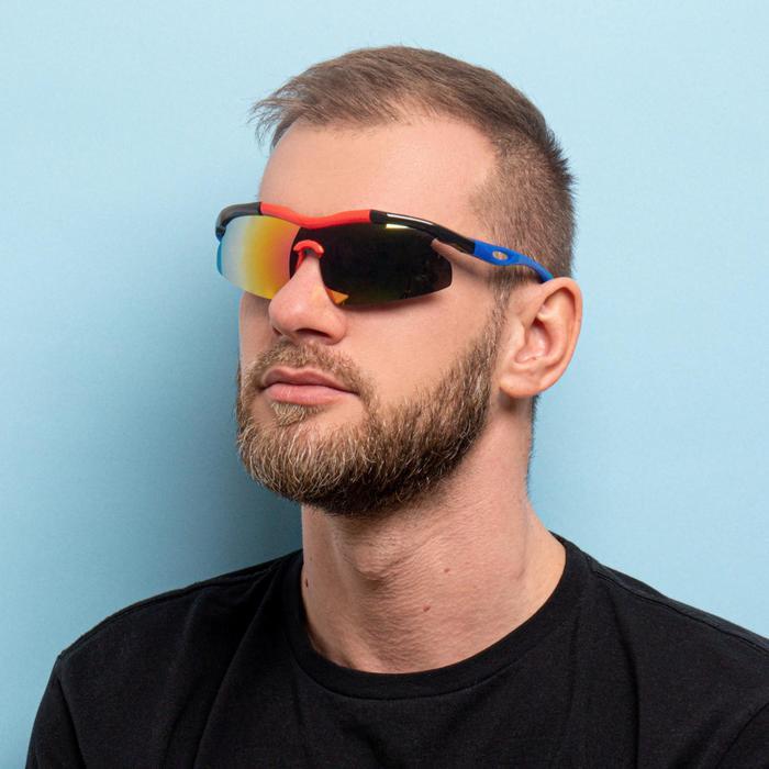 Очки спортивные, линзы под углом, зеркальные, оправа чёрно-красная, дужки синие, 14х5.5 см