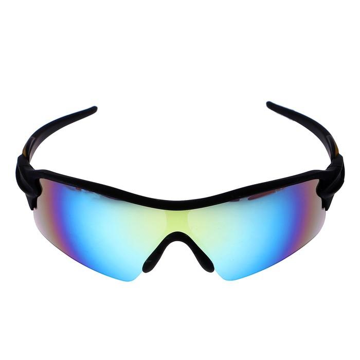 Очки спортивные, линзы градиент, синие, дужки чёрно-золотистые, пластик, 14х5.5 см