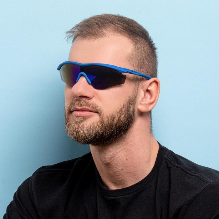 Очки спортивные, линзы под углом, градиент, дужки синие с объёмными вставками, 14х5.5 см