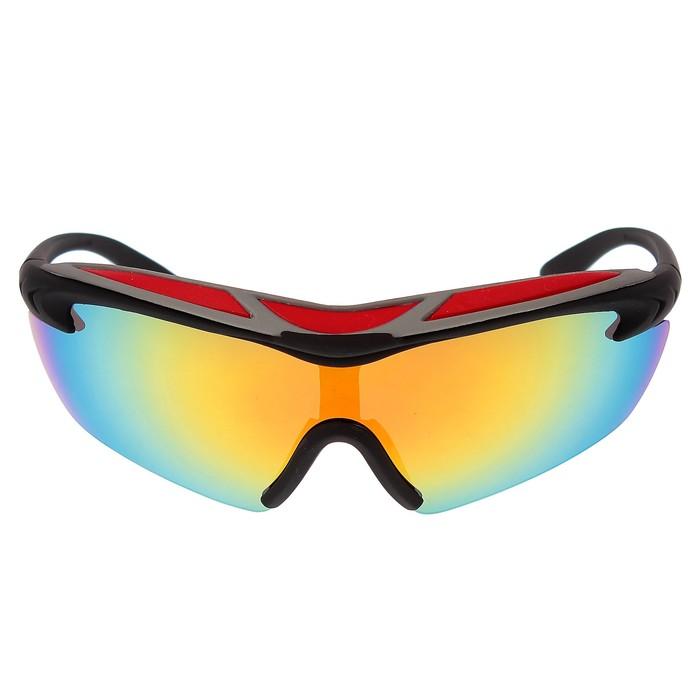 Очки спортивные, линзы зеркальные, оправа чёрная с цветной вставкой сверху, 14х5.5 см