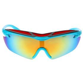 Очки спортивные, линзы зеркальные, оправа и дужки голубые, цветная вставка сверху, 14х5.5 см