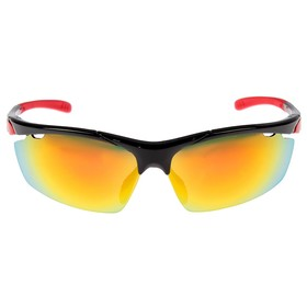 Очки спортивные, линзы под углом, дужки с цветными вставками, микс, 14х5.5 см