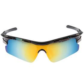 Очки спортивные, линзы под углом, оправа овальные металлические вставки, микс, 14х5.5 см Ош