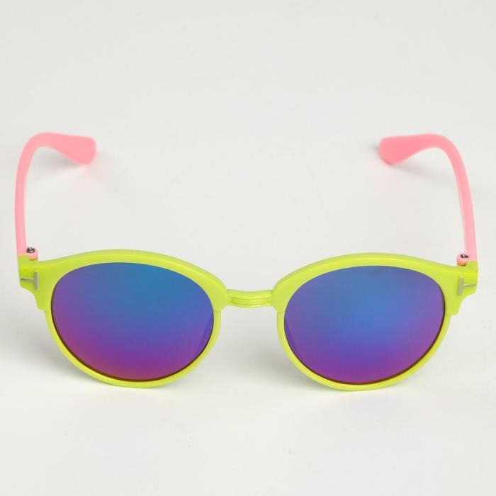 """Очки солнцезащитные детские """"Round"""", оправа с пластиковыми вставками, МИКС, 12.5 × 4.5 см"""