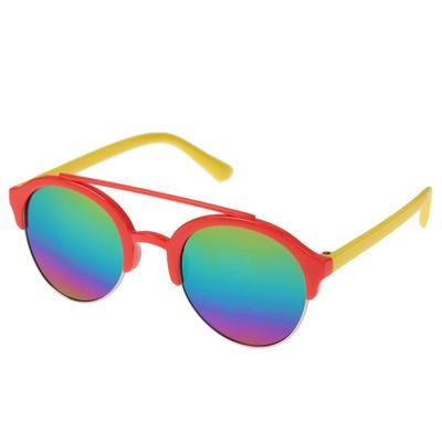 Очки солнцезащитные детские Авиаторы. Линзы зеркальные, оправа разноцветная, микс, 12.5 см