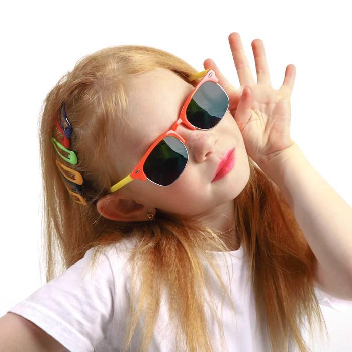 """Очки солнцезащитные детские """"Round"""", оправа и дужки разного цвета, МИКС, 12.5 × 4.5 см"""