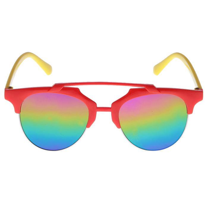 Очки солнцезащитные детские, планка сверху, двухцветные, линзы радужные, МИКС, 12.5 см