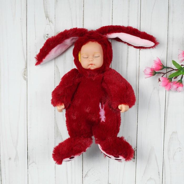 """Мягкая игрушка """"Кукла в костюме зайца"""", на животе вышивка, закрытые глаза, цвета МИКС"""