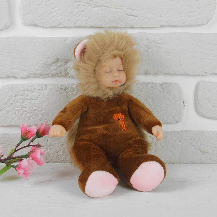 """Мягкая игрушка """"Кукла в меховом костюмчике"""", закрытые глазки, цвета микс"""