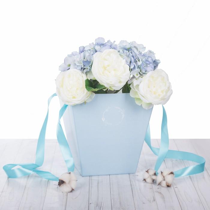 Коробка трапеция «Морозный голубой», микрогофра, 23,6 х 24,5 х 15 см