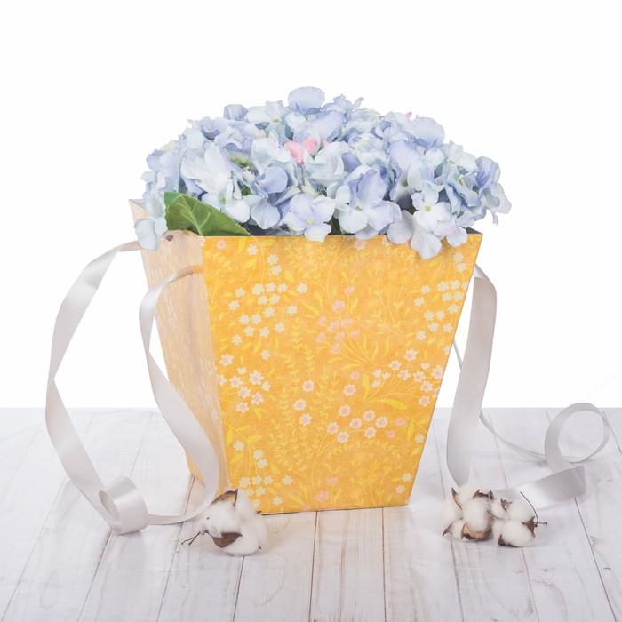 Коробка трапеция «Крафт с цветами», микрогофра, 23,6 х 24,5 х 15 см