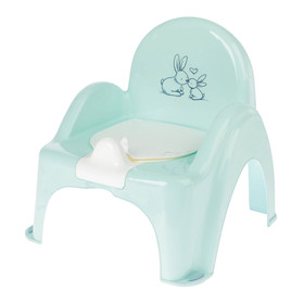 Горшок-стульчик «Кролики» с крышкой, антискользящий, цвет бирюзовый