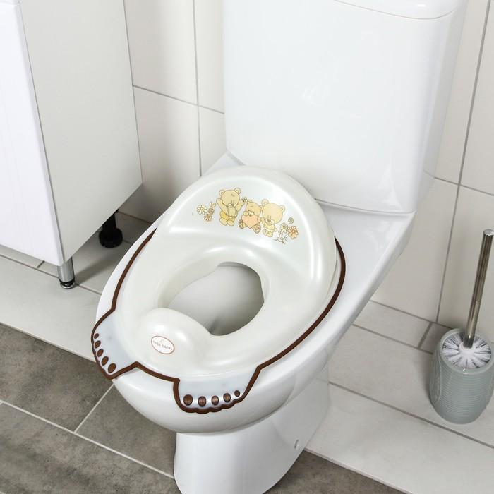 Детская накладка на унитаз антискользящая «Мишки», цвет белый - фото 4655660