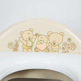 Детская накладка на унитаз мягкая «Мишки» с ручками, антискользящая, цвет бежевый - фото 4655654