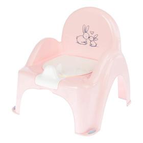 Горшок-стульчик музыкальный «Кролики» с крышкой, антискользящий, цвет розовый