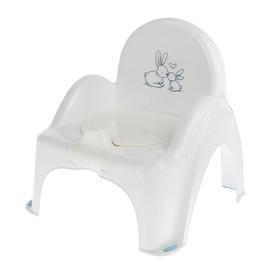 Горшок-стульчик «Кролики» с крышкой, антискользящий, цвет белый